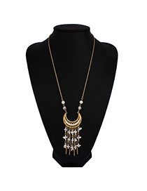 Vintage White Moon Shape&tassel Pendant Decorated Long Chain Design Alloy Bib Necklaces