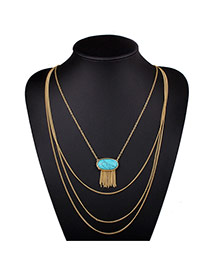 Exaggerated Green Oval Gemstone Decorated Multilayer Design Alloy Bib Necklaces