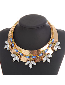 Exaggerate Multi-color Oval Diamond Decorated Geometric Shape Design Alloy Bib Necklaces