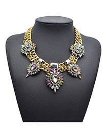 Exaggerate Gold Color Diamond Decorated Wide Chain Design Alloy Bib Necklaces