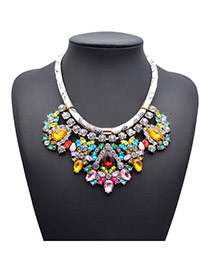 Exquisite Multicolor Gemstone Decorated Simple Design Alloy Fashion Necklaces