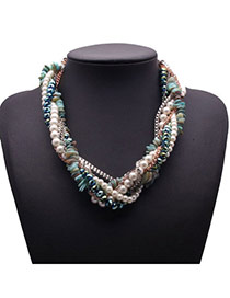 Exquisite Multicolor Beads Decorated Multilayer Design Alloy Fashion Necklaces