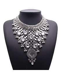 Exquisite Silver Color Waterdrop Diamond Weave Decorated Collar Design Alloy Bib Necklaces