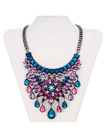 Retro Multi-color Flower Shape Decorated Tassel Design  Alloy Fashion Necklaces