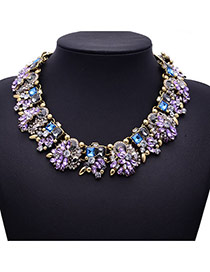 Luxury Purple Diamond&gemstone Decorated Collar Design