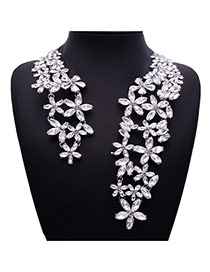 Elegant Silver Color Flower Shape Decorated Opening Design