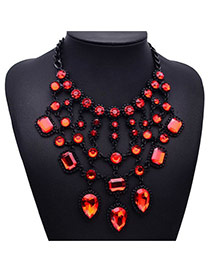 Elegant Red Water Drop Diamond Decorated Multilayer Design