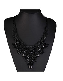 Exaggerated Black Diamond Decorated Pure Color Design Alloy Bib Necklaces