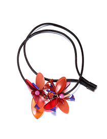 Personality Orange Flower Pendant Decorated Simple Design Acrylic Bib Necklaces