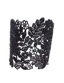 Retro Black Flower Pattern Decorated Hollow Out Opening Design Alloy Fashion Bangles