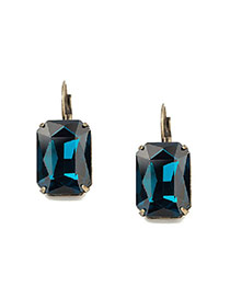 Personality Blue Square Diamond Decorated Simple Design Crstal Korean Earrings