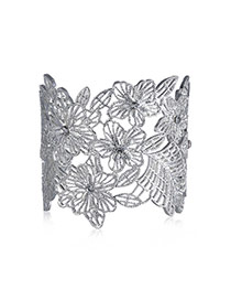 Exaggerated Silver Color Flower Pattern Decorated Hollow Out Opening Design Alloy Fashion Bangles