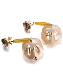 Personality Beige Flower Pendant Decorated Hollow Out Design Acrylic Stud Earrings