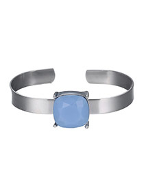 Exaggerated Blue Square Diamond Decorated Opening Design Alloy Fashion Bangles
