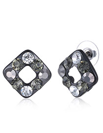 Fashion Black Diamond Decorated Square Shape Design Cz Diamond Stud Earrings