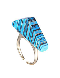 Fashion Blue Triangle Shape Decorated Opening Design  Turquoise Korean Rings
