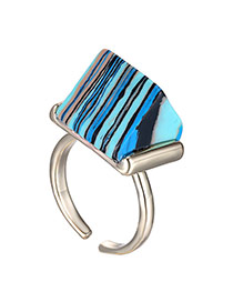 Personalized Blue Geomestric Decorated Opening Design Turquoise Korean Rings