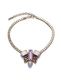 Fashion Multicolor Diamond Decorated Simple Design Alloy Bib Necklaces
