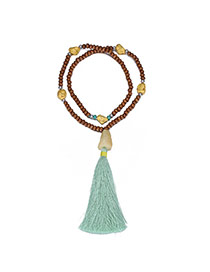 Vintage Green Beads Pendant Decorated Tassel Design Turquoise Bib Necklaces
