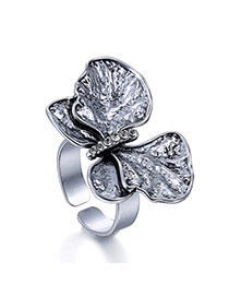 Vintage Silver Color Butterfly Shape Opening Design Alloy Korean Rings
