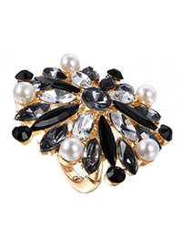 Exggerate Black Irregulary Diamond Decorated Simple Design Alloy Korean Rings