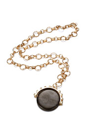 Fashion Black Round Diamond Pendant Decorated Chain Design Alloy Bib Necklaces