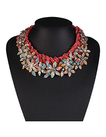 Fashion Red Flower Decorated Weaving Design Alloy Bib Necklaces