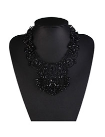 Elegant Black Geometric Diamond Decorated Hollow Out Design Alloy Bib Necklaces