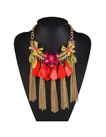 Fashion Red Tassel &flower Pendant Decorated Collar Design Acrylic Bib Necklaces