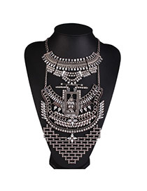 Personalized Silver Color Geometric Decorated Multi-layer Design Alloy Bib Necklaces