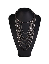 Elegant Black Metal Chain Decorated Multi-layer Design Alloy Bib Necklaces