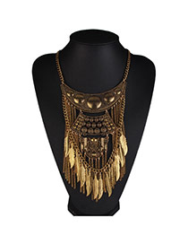 Vintage Gold Color Leaf&tassel Pendant Decorated Multi-layer Design Alloy Bib Necklaces