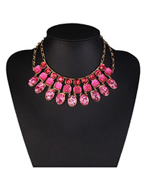 Fashion Red Geometric Diamond Decorated Multi-layer Design Alloy Bib Necklaces