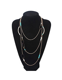 Joker Blue Beads Decorated Multilayer Design Alloy Chains