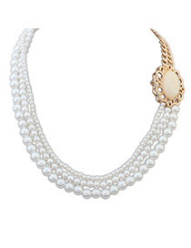 Fashion Beige Pearl Decorated Multilayer Design Alloy Korean Necklaces