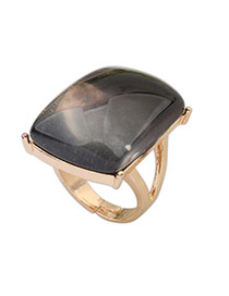 Gradient Black Gemstone Decorated Square Shape Design Alloy Korean Rings