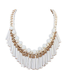 Boutique White Tassel Decorated Weave Design Alloy Bib Necklaces