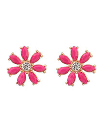 Sweet Plum Red Gemstone Decorated Flower Design  Alloy Stud Earrings