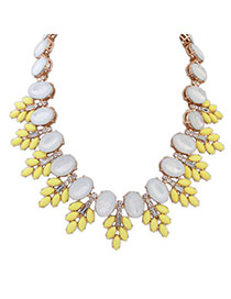 Bright Yellow Gemstone Decorated Leaf Shape Design Alloy Bib Necklaces