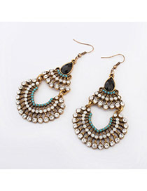 Tinsel White Diamond Decorated Hollow Out Design Alloy Korean Earrings