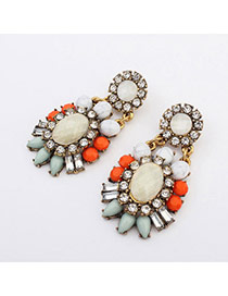 Fashion Gold Color Diamond Decorated Irregular Shape Design Earrings