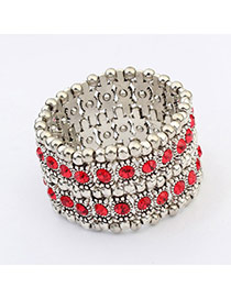 Fashion Red Diamond Decorated Double Layer Design  Alloy Korean Fashion Bracelet