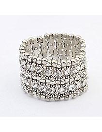 Fashion White Diamond Decorated Double Layer Design
