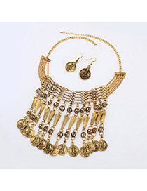 Bohemia Bronze Coin Shape Pendant Decorated Tassel Design  Alloy Jewelry Sets