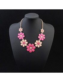 Exquisite Plum Red Gemstone Decorated Flower Shape Design Alloy Bib Necklaces