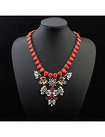 Personality White+red Water Drop Shape Gemstone Decorated Exaggerated Design Alloy Bib Necklaces