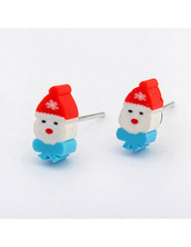 Cute White Santa Claus Shape Simple Design Alloy Stud Earrings