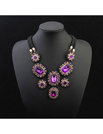 Exquisite Purple Gemstone Decorated Flower Shape Design Alloy Bib Necklaces