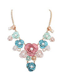 Sweet Multicolor Pearl Decorated Flower Design Alloy Bib Necklaces