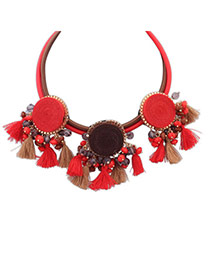 Ethnic Red&khaki Tassel Decorated Double Layer Design Resin Bib Necklaces